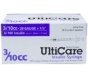 "UltiCare Insulin Syringe, 29 Gauge, 3/10cc, 1/2"" Needle - 100 Count"