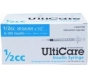 "UltiCare U-100 Insulin Syringe, 28 Gauge, 1/2cc, 1/2"" Needle - 100 Count"